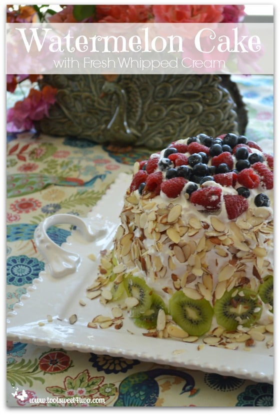 Watermelon Cake with Fresh Whipped Cream Pinterest