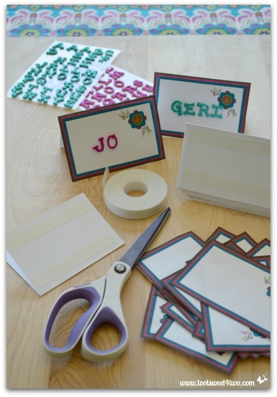 Applying double-stick tape to easy party placecards