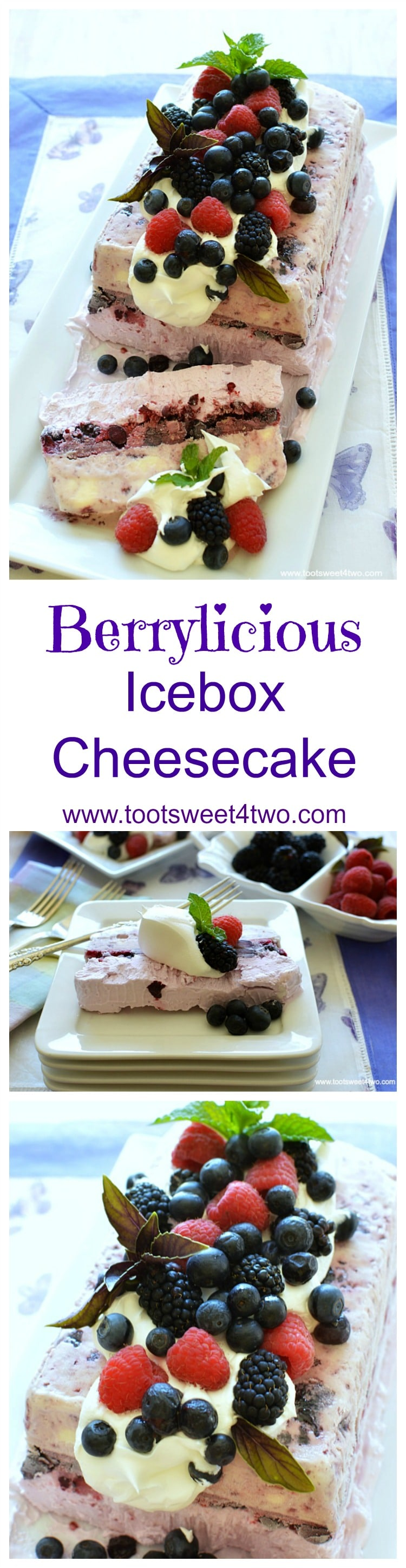 "Looking for unique cheesecake recipes? Look no further! Berrylicious Ice Box Cheesecake is an easy, frozen, no bake dessert that combines an easy-to-make blackberry cheesecake layer with a layer of ice cream. Frozen for hours or overnight, unmold this luscious concoction onto a pretty platter, dollop with Cool Whip and then top with fresh blackberries, blueberries, raspberries and sprigs of mint. A spectacular-looking dessert, this delicious recipe will ""wow"" friends and family. 