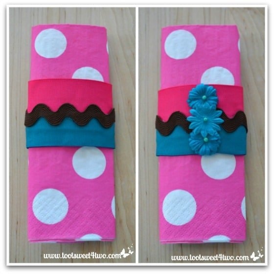 Finished Napkin Rings with Pink Polka-dot Napkins - How to Make Napkin Rings for Paper Napkins