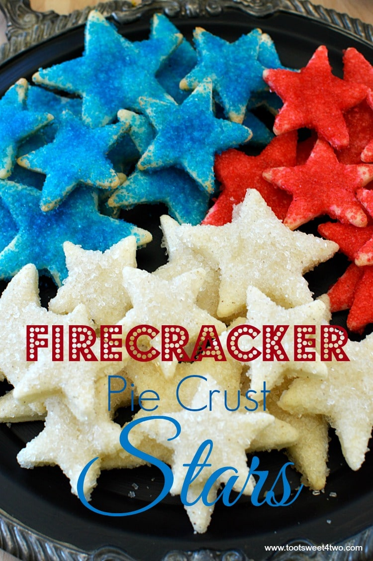 Firecracker Pie Crust Stars - made with store-bought pre-made pie crust dough cut out with various star-shaped cookie cutters, slathered with butter then liberally sprinkled with colored sugar sprinkles and baked, these cookies are the perfect sweet and salty combo that's so addicting! Get this easy and festive 4th of July Patriotic party recipe at www.tootsweet4two.com.