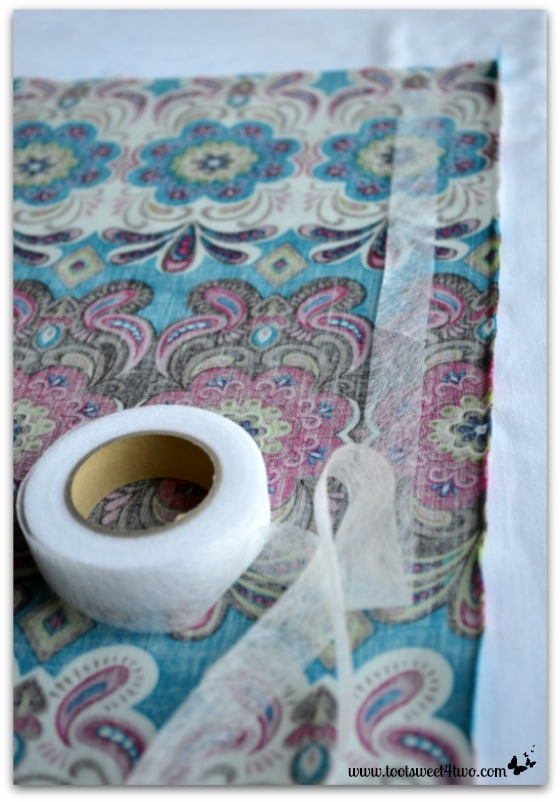 How to Make an Easy No Sew Table Runner - Pic 4 - fusible webbing on fabric