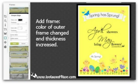 PicMonkey Basics - Design Your Own - Pic 5 - Add frame