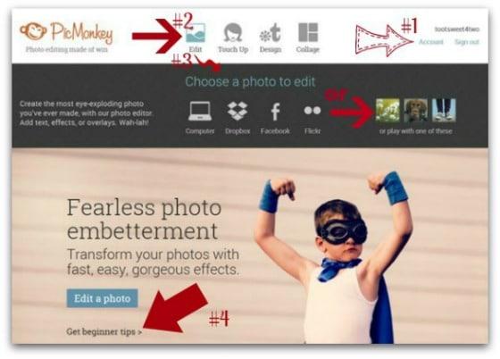 PicMonkey Basics - Getting Started - Pic 3 - Edit icon