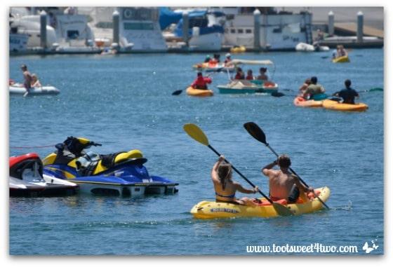 Boating activity on Oceanside Harbor