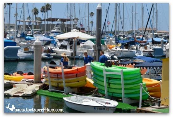 Colorful boats for rent - Oceanside Harbor