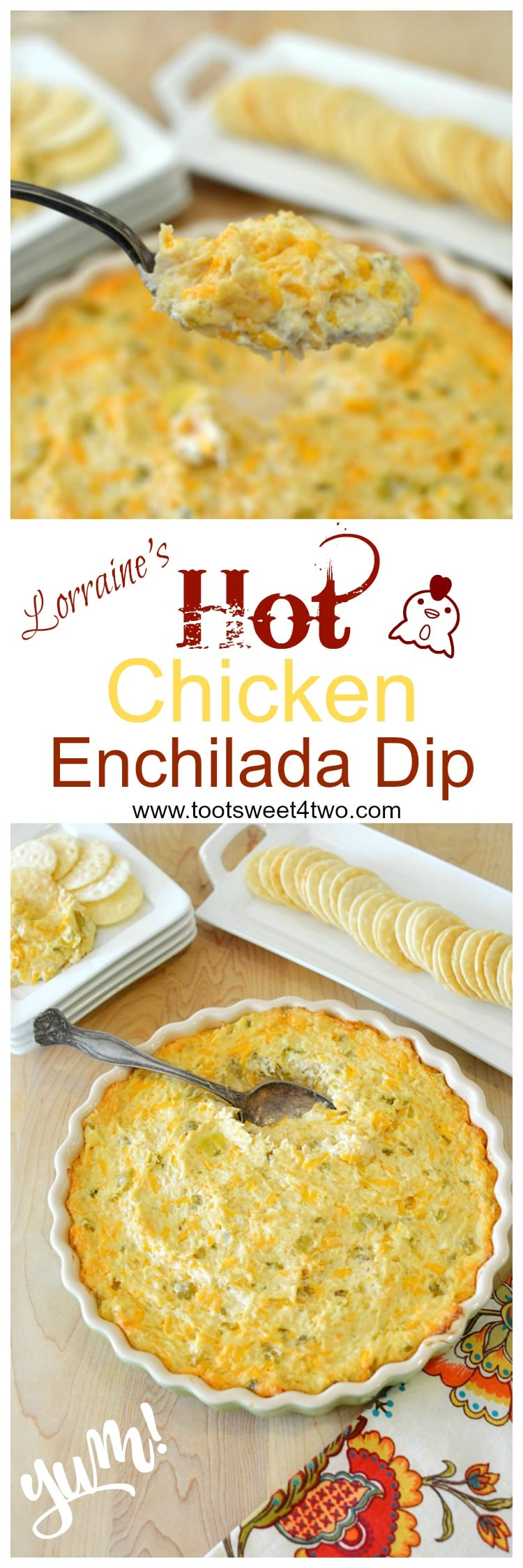 Looking for great dip recipes that are hot, easy, yummy and delicious? Look no further! Lorraine's Hot Chicken Enchilada Dip is one of those dip recipes that's gone in a flash! Guaranteed! Creamy and cheesy with a slight piquant bite from the green chilies and jalapeno, this Mexican-inspired appetizer dip is a keeper! One of the most popular dip recipes on my blog, this hot and cheesy chicken enchilada dip is also one of the best dips for parties because it is so incredibly easy to make. Made with (gasp!) canned chicken, it requires no pre-cooking time until you pop it in the oven to heat through until bubbly. Traditionally served with tortilla chips, this dish makes a great cracker dip, too! | www.tootsweet4two.com