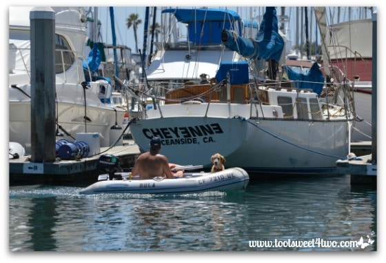 Man and his best friend in dinghy - Oceanside Harbor