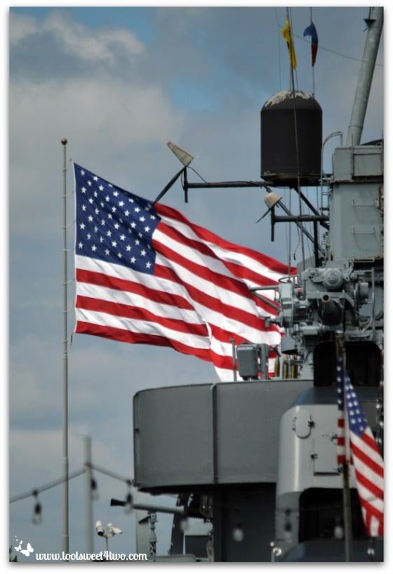 American flag on naval vessel at Canalside