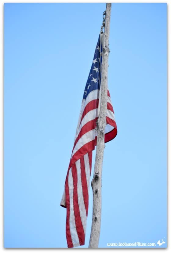 American flag on wooden pole - Genesee Country Village