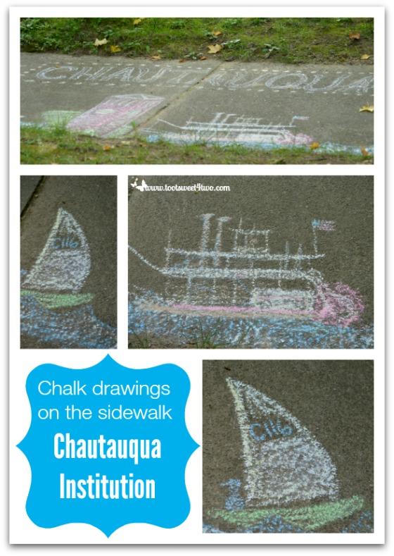 Chalk drawings on the sidewalk Chautauqua Institution