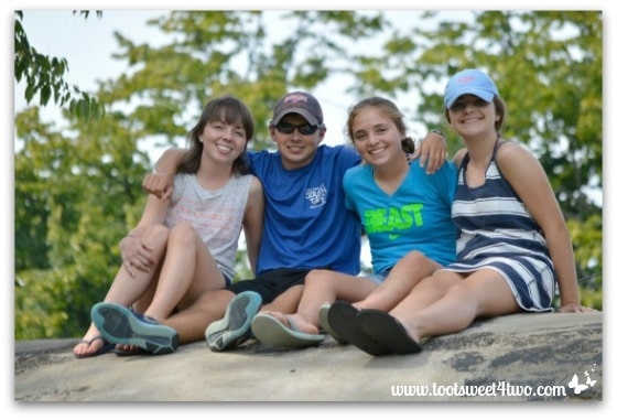 Erin, Ryan, Bizzy, Molly at Chautauqua on top of rock New York State of Mind