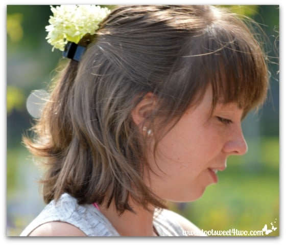 Erin with flower in her hair at Chautauqua Institution