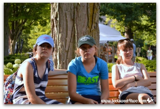 Grumpy faces of Molly, Bizzy, Erin at Chautauqua Institution