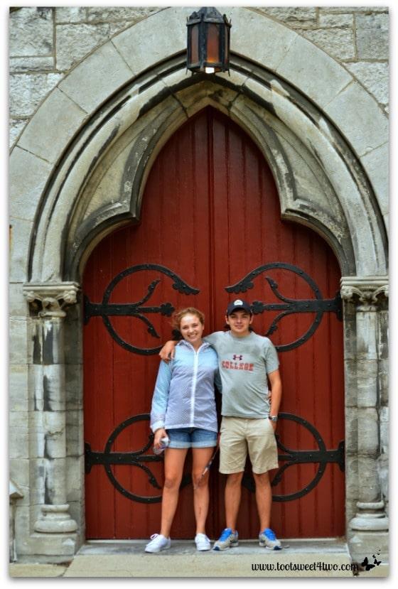 Bizzy and Ryan at Chapel door at Hogwarts on the Lake
