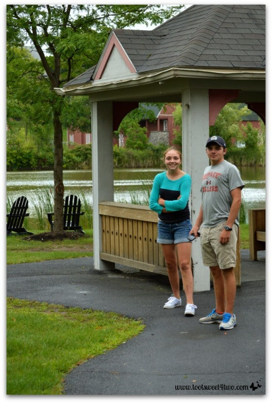 Bizzy and Ryan on a path at Hogwarts on the Lake