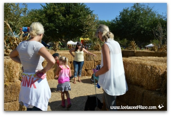 Gathering round the mailbox in the straw maze
