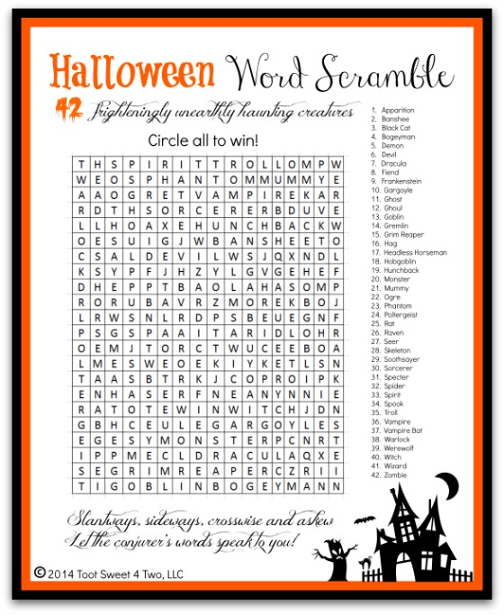 Ghosts Goblins And Ghouls 42 Frighteningly Unearthly Creatures. Halloween Word Scramble Photo. Printable. Halloween Fun Printable Packets At Clickcart.co
