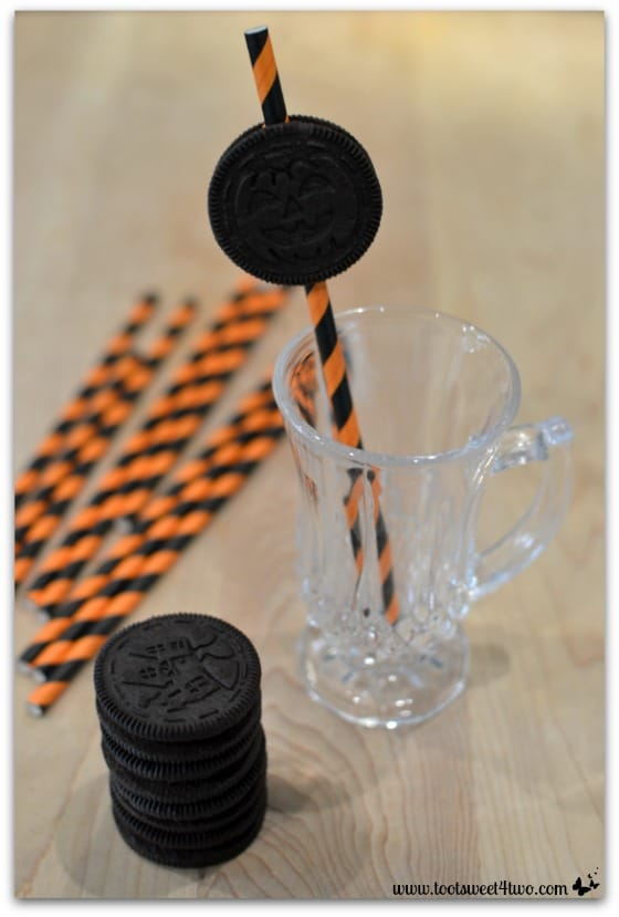 Oreo cookie straw in glass - Cryptically Easy Chocolate Milk