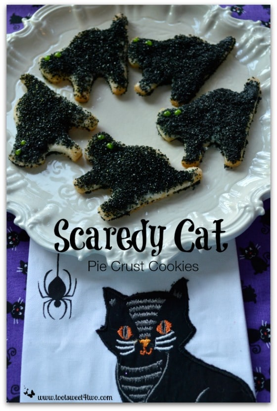 Pic 6 Scaredy Cat Pie Crust Cookies and cat tea towel