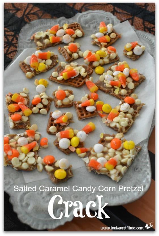 Salted Caramel Candy Corn Pretzel Crack on platter