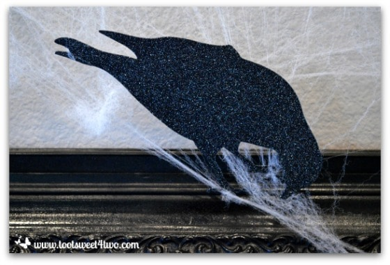 Sparkly paper crow in Nevermore Decorating for Halloween