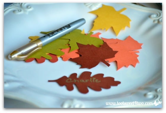 Maple leaf and Oak leaf cut-outs for placecards
