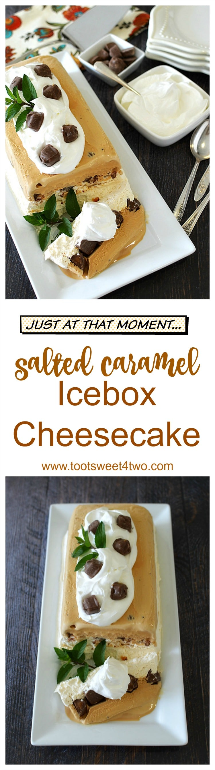 "Looking for unique cheesecake recipes? Look no further! Salted Caramel Icebox Cheesecake is an easy, frozen, no bake dessert that combines an easy-to-make cheesecake layer topped with Milky Way Bites and then layered with salted caramel gelato. Frozen for hours or overnight, unmold this luscious concoction onto a pretty platter and then top with dollops of Cool Whip and more candy. A spectacular-looking dessert, this delicious recipe will ""wow"" friends and family. 