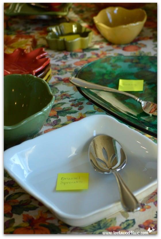 Serving dishes for Thanksgiving dinner