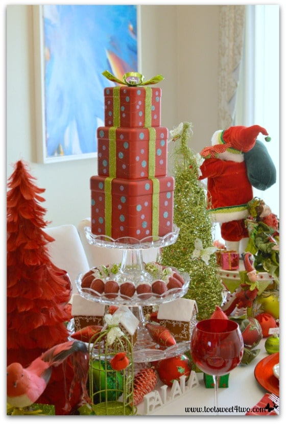 3-Tier Dessert Stand decorated for Christmas