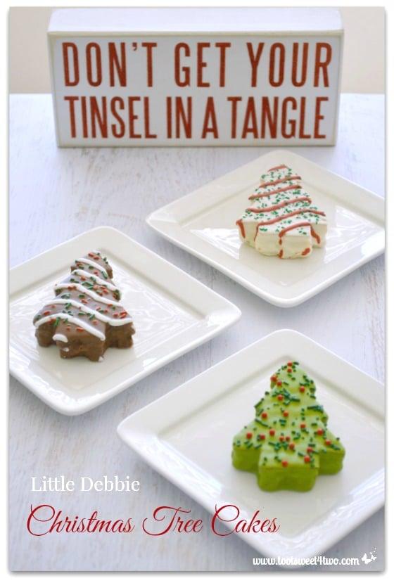 A trio of Little Debbie Christmas Tree Cakes