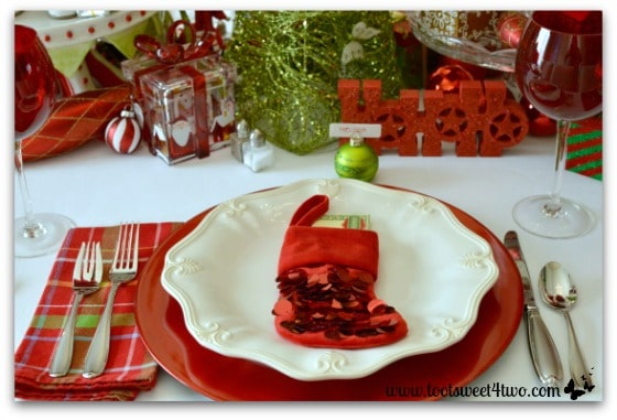 Christmas Place Setting With Red Christmas Stocking