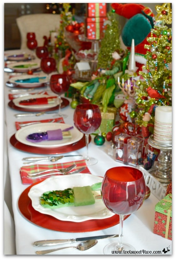 Decorating the Table for a Christmas Celebration close-up