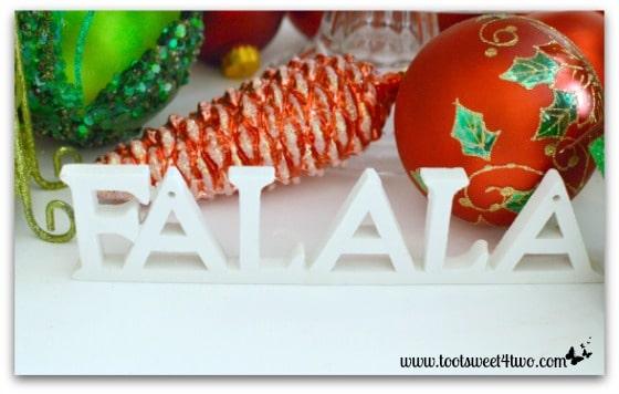Falala sign on Christmas table
