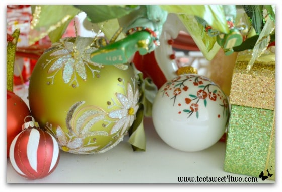 Fancy ornaments on Christmas table