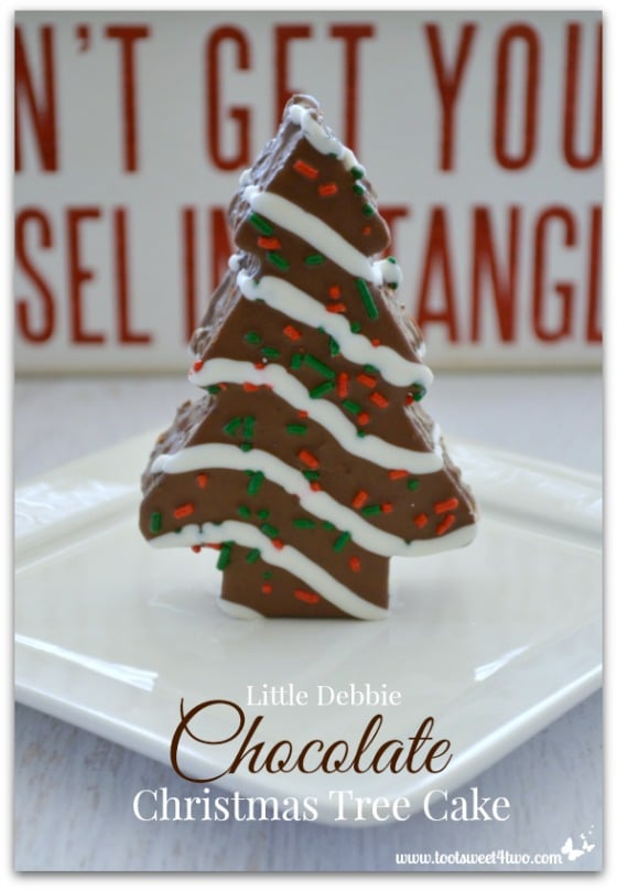 Little Debbie Chocolate Christmas Tree Cake standing upright