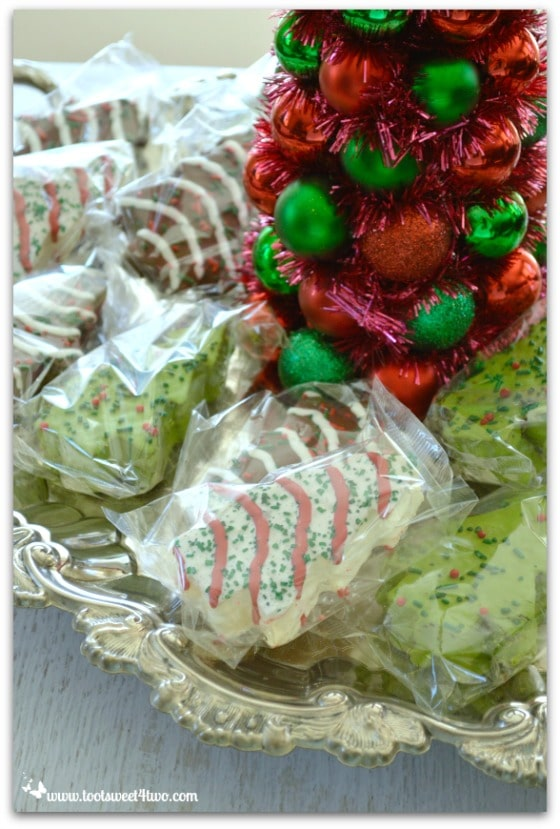 Little Debbie Christmas Tree Cakes on a silver platter