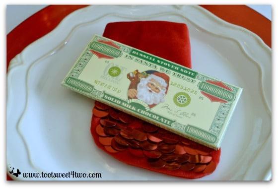 Million dollar chocolate bar on Christmas table