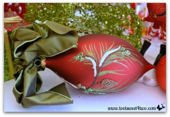 Red Christmas pine cone ornament