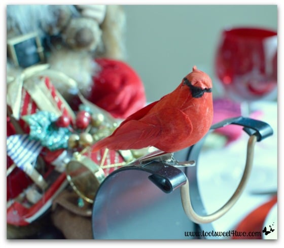 Red bird on Santa's sleigh