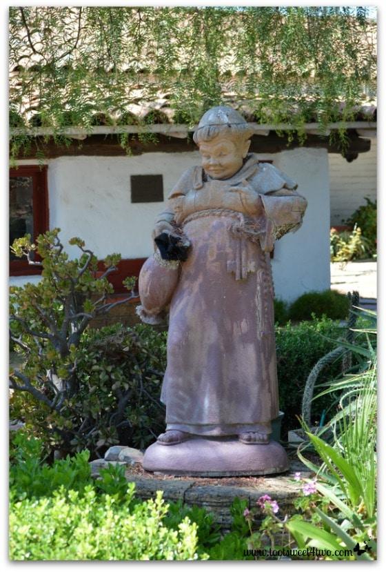 Chubby friar statue at Mission San Antonio de Pala