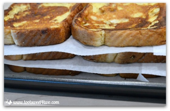 French Toast stacked with wax paper between layers