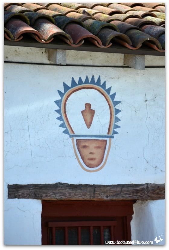 Indian fresco above window at Mission San Antonio de Pala