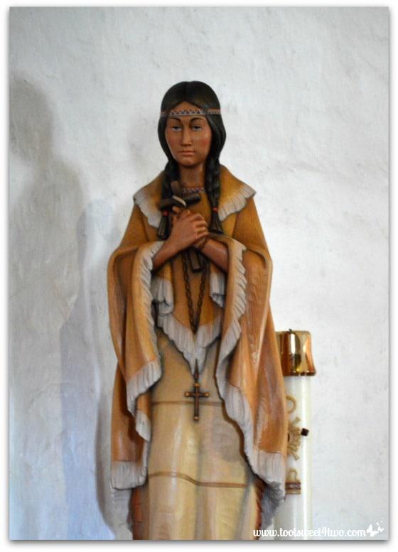Indian woman statue in Mission San Antonio de Pala Chapel