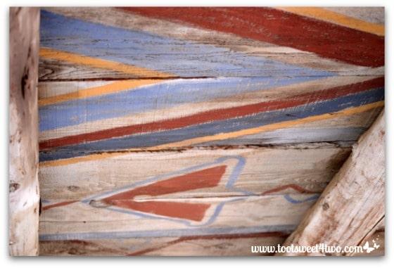 Painted portico ceiling at Mission San Antonio de Pala