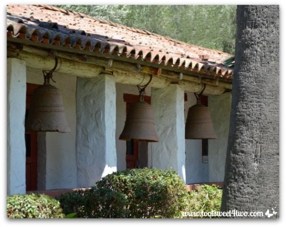 Portico of tower bells at Mission San Antonio de Pala