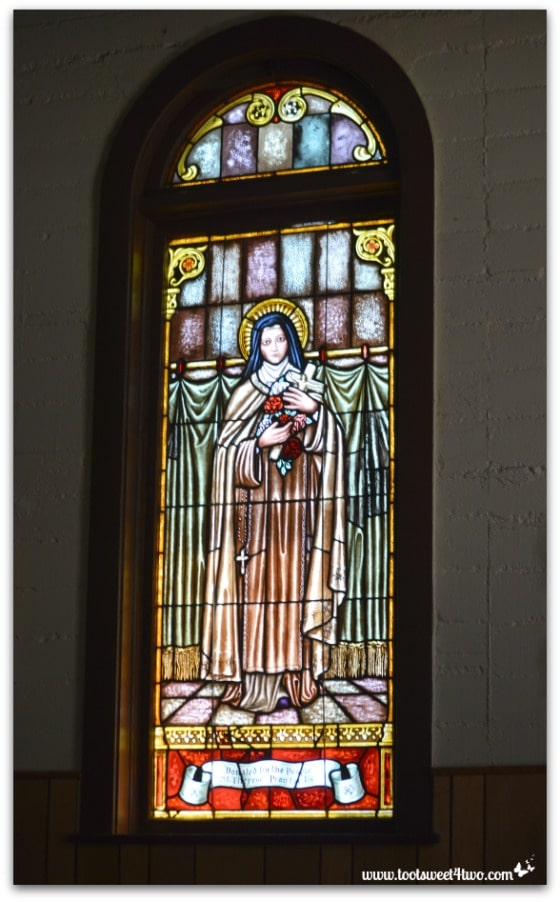Stained glass window of Mary - Mission Santa Ysabel