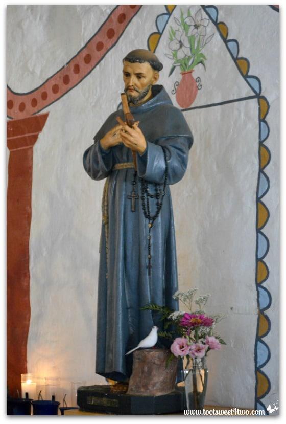 Statue of a Friar inside Mission San Antonio de Pala Chapel