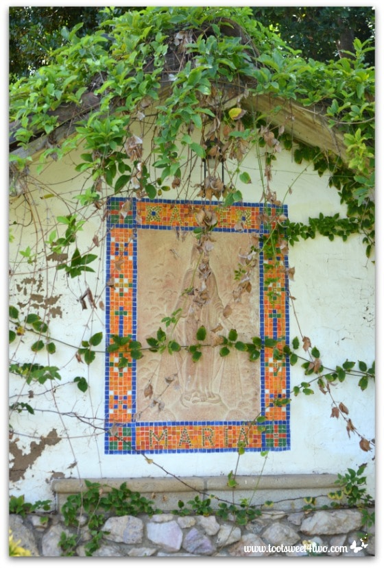 Tile framed stone carved altar of Mary in gardens at Mission San Antonio de Pala