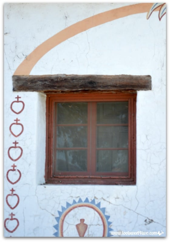 Window and frescos at Mission San Antonio de Pala